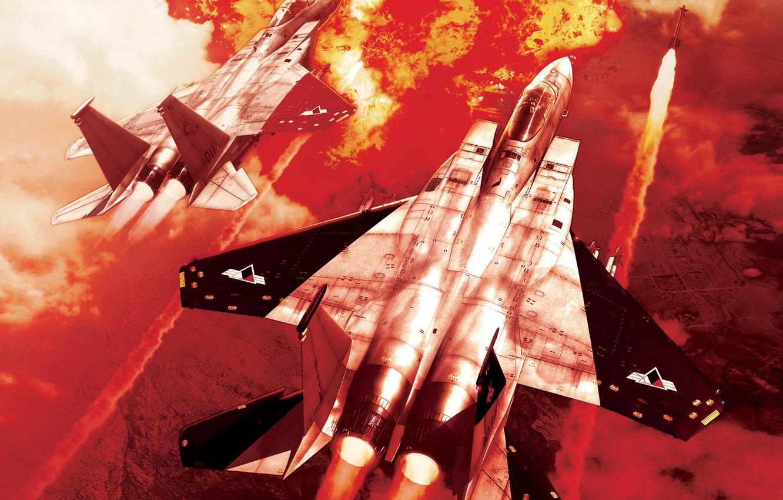 Фото обои Война, ракета, истребитель