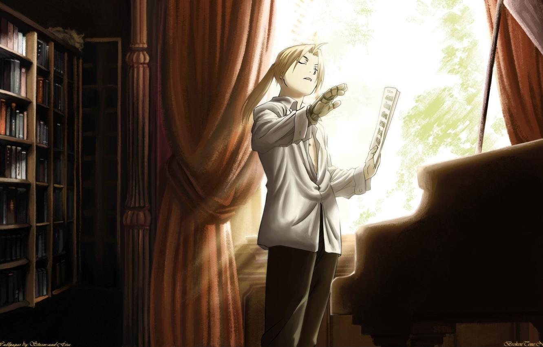 Фото обои ноты, книги, рояль, Арт, Art, протез, Стальной Алхимик, Fullmetal Alchemist, Storm-and-Fire, Edward Elric, Эдвард Элрик
