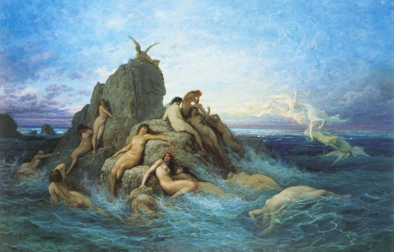 Фото обои море, волны, небо, облака, скалы, картина, миф, Gustave Dore, морские наяды