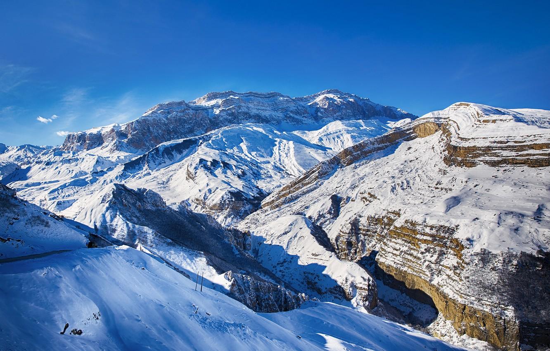 Фото обои зима, небо, облака, снег, горы, шахдаг, alex levi