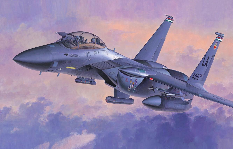 Фото обои war, art, airplane, painting, aviation, jet, F-15E Strike Eagle
