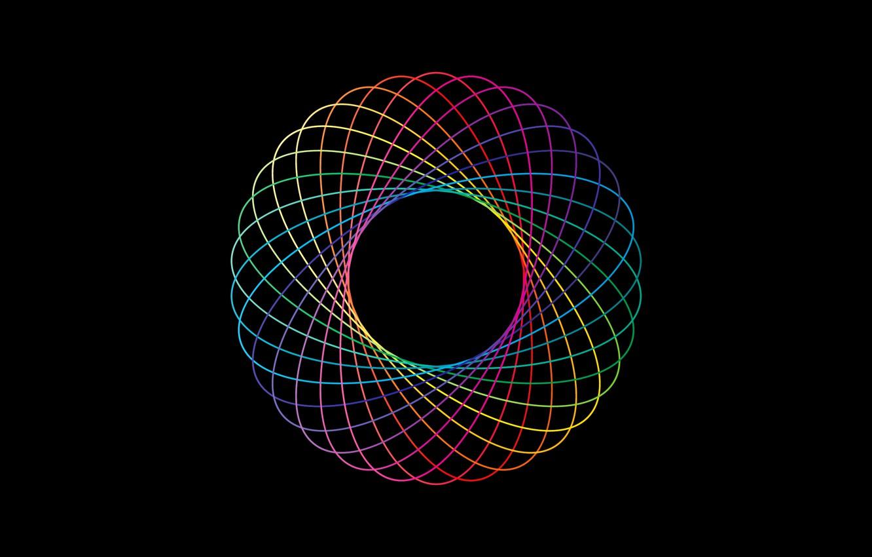 Фото обои линии, абстракция, цвет, круг, радуга, кольцо, объем