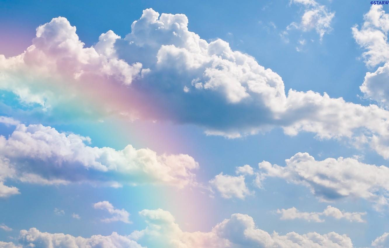 Фото обои небо, облака, радуга