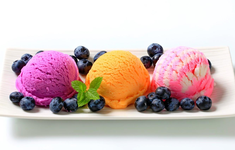 Фото обои colorful, plate, fruit, sweet, dessert, berries, delicious, ice cream, yummy