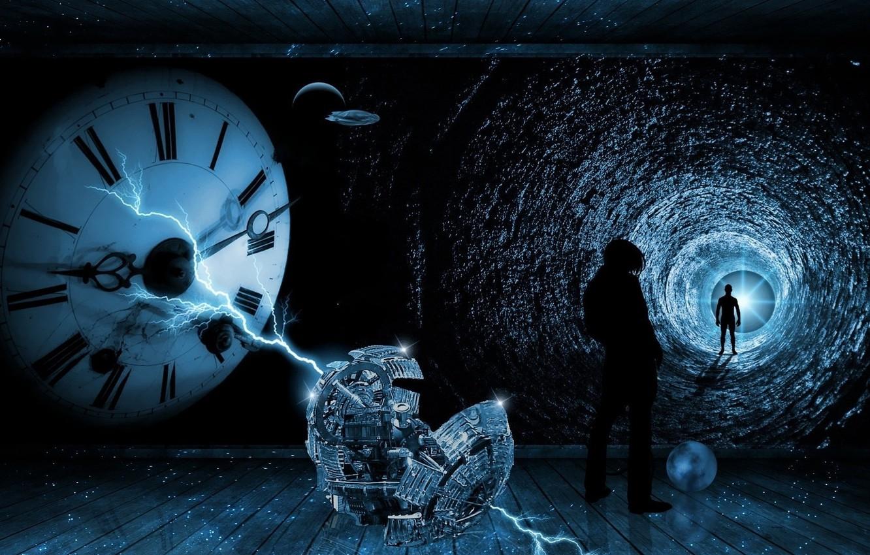 Фото обои путь, часы, Машина времени