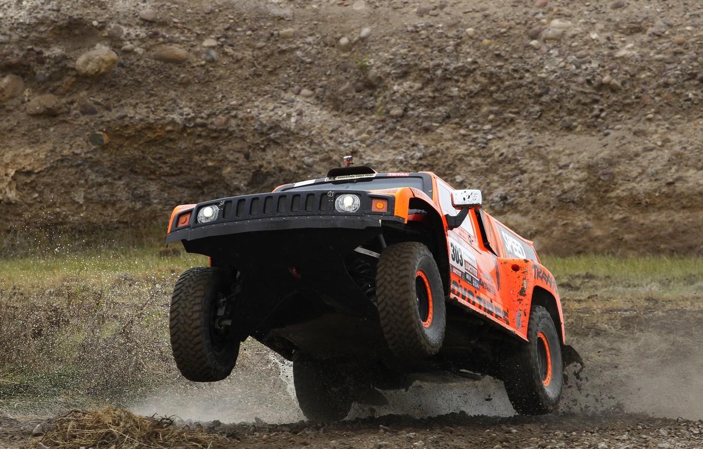 Фото обои Спорт, Гонка, Фары, Rally, Dakar, Внедорожник, Передок, Hammer