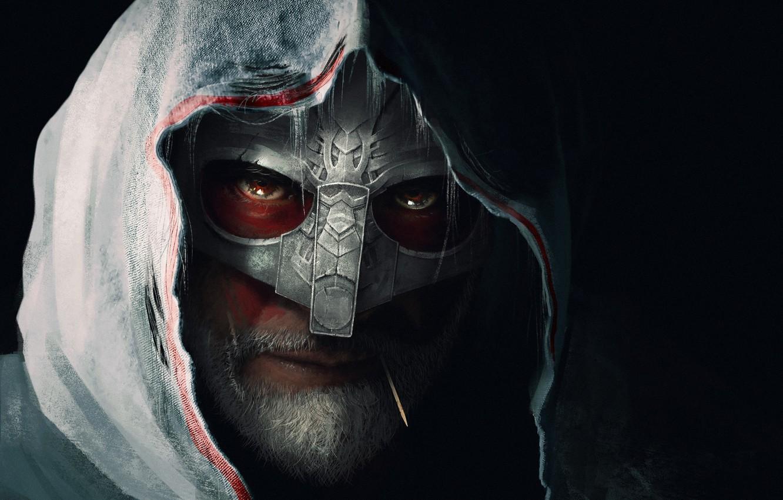 Фото обои взгляд, фон, маска, арт, капюшон, мужчина