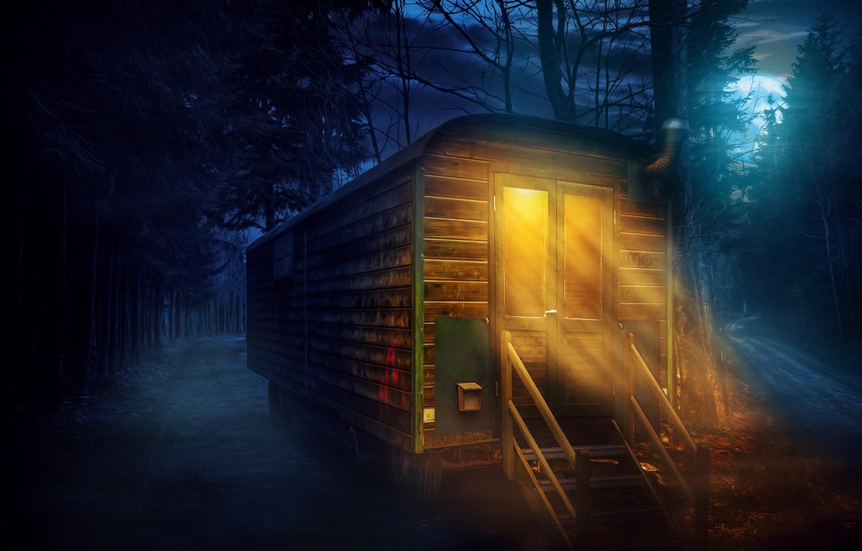 Обои особняк, дома, ночь. Рендеринг foto 13