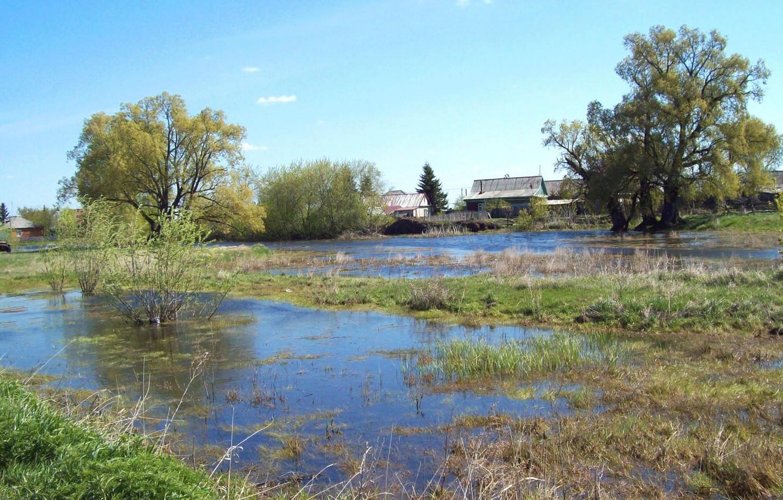 Фото обои вода, весна, Деревня, май