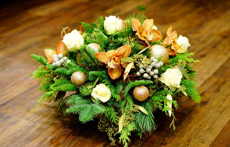 Новогодние композиции с цветами фото