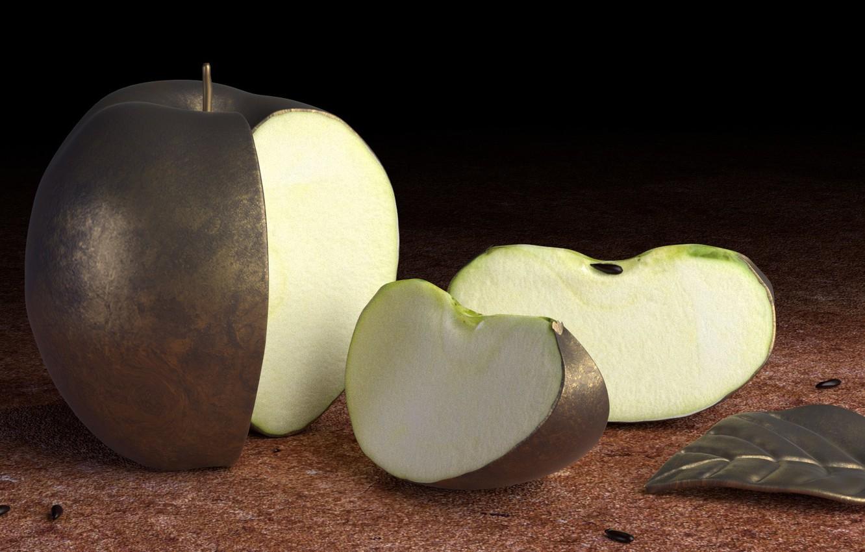Фото обои металл, яблоко, твердое