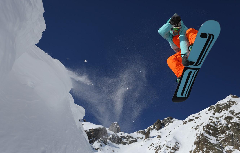 Фото обои снег, горы, сноуборд, спорт