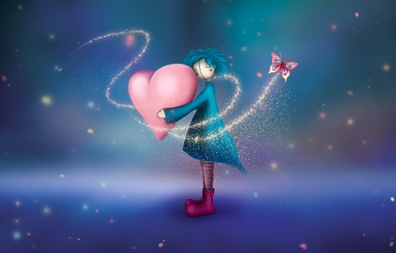 Фото обои бабочка, Сердце, девочка