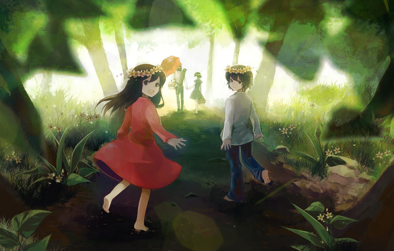 Фото обои дорога, лес, деревья, цветы, природа, дети, улыбка, зонт, аниме, мальчик, семья, арт, девочка, пикник, ame, …