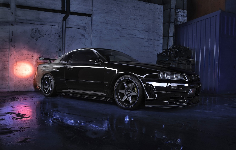 Фото обои чёрный, Nissan, Skyline, Nissan Skyline R34 GTR V