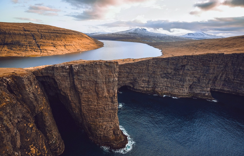 Фото обои море, небо, облака, горы, река, океан, скалы, Фарерские острова