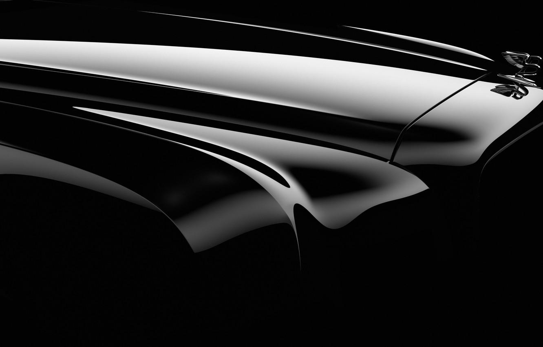 Фото обои черный, Bentley, логотип, капот, эмблема