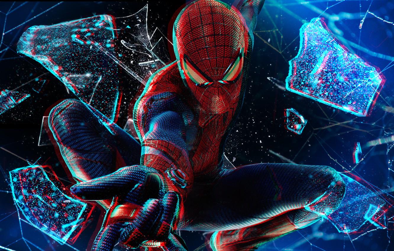 Фото обои в полёте, разбитое стекло, 1080p, Spider man