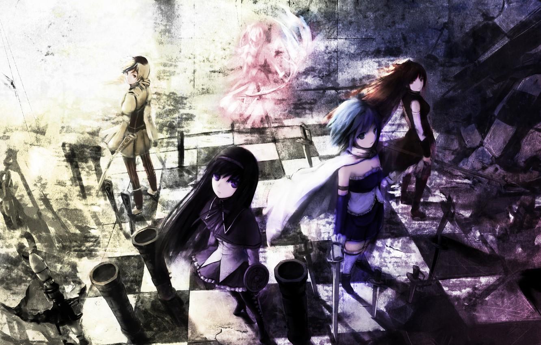 Фото обои оружие, девушки, меч, аниме, арт, mahou shoujo madoka magica, akemi homura, kaname madoka, miki sayaka, …