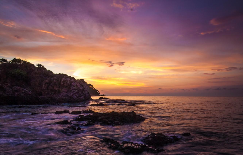 Фото обои пляж, скала, океан, рассвет, Мексика