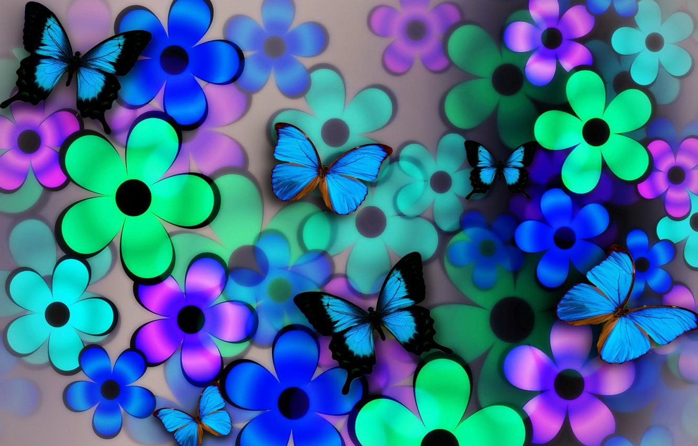 Обои Коллаж, крылья, цветы. Разное foto 12