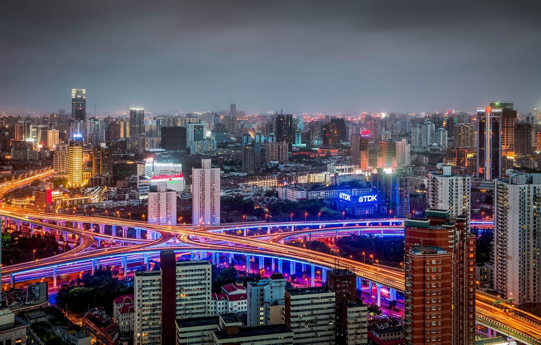 Обои здания, шанхай, ночной город, shanghai, китай, china. Города foto 9