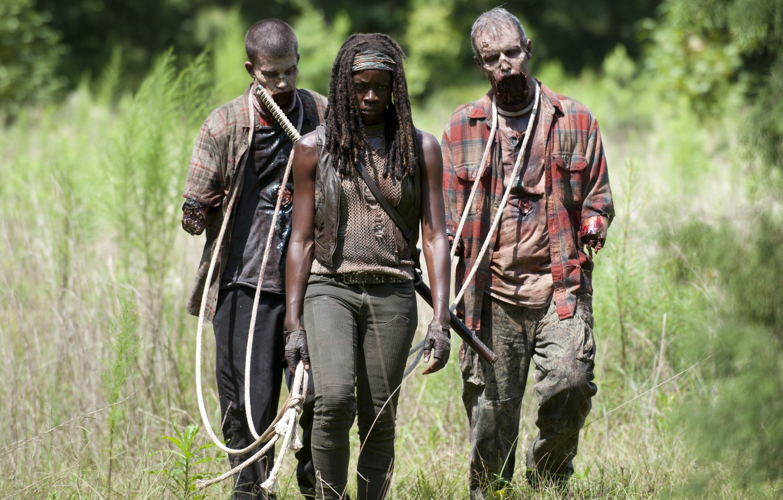 Фото обои dirt, zombies, death, the walking dead, rope, Michonne, mutilated