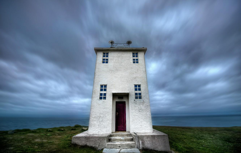 Фото обои море, небо, тучи, маяк, Исландия, sky, sea, clouds, Iceland, lighthouse