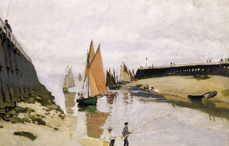 Обои Клод Моне, Два Рыбака, картина, лодка, Пейзаж. Разное foto 7