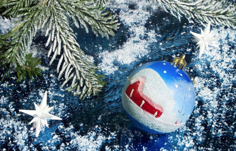 Фото обои снег, украшения, новый год, шар