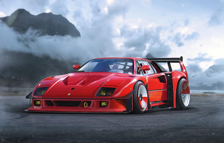 Фото обои Concept, Ferrari, Red, F40, Car, by Khyzyl Saleem