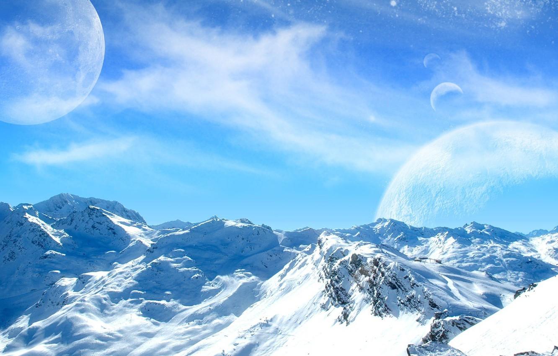 Фото обои холод, небо, снег, горы, луна, планеты