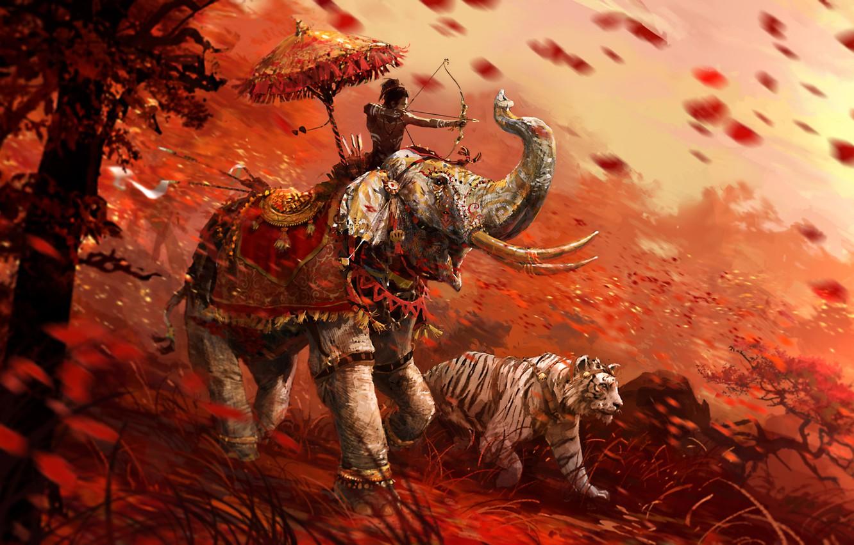 Фото обои трава, тигр, слон, воин, лучник, Far Cry 4, кират