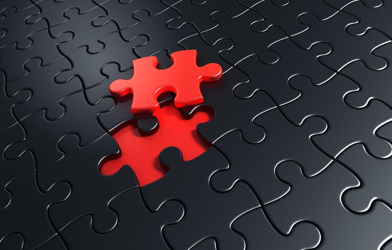 Фото обои red, black, puzzle