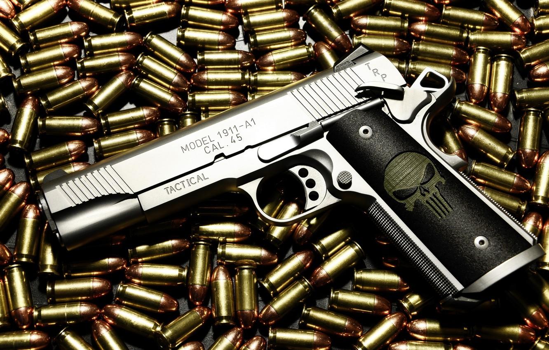 Фото обои пистолет, оружие, патроны