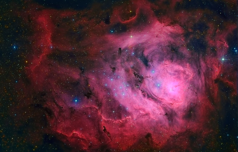 Фото обои Лагуна, Туманность, в созвездии Стрельца, межзвёздное облако