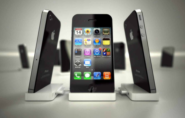 Фото обои apple, телефон, иконки, айфон, эппл, мобильник, iphone4, айфон 4