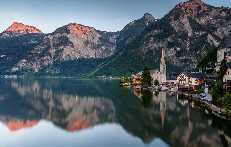 Фото обои горы, озеро, дома, Австрия, Гальштат