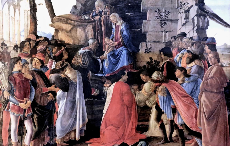 Фото обои Флоренция, Сандро Боттичелли, великий итальянский живописец, Sandro Botticelli, темпера, 1475, Поклонение волхвов, Уффици