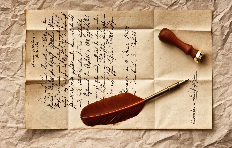 Фото обои письмо, ретро, перо, строки, vintage, винтаж, штемпель