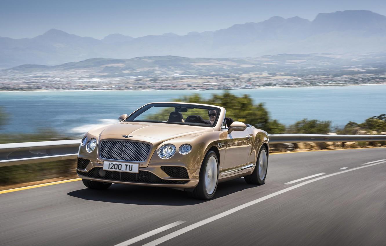 Фото обои дорога, машина, побережье, Bentley, Continental GT, автомобиль, Convertible, 2016