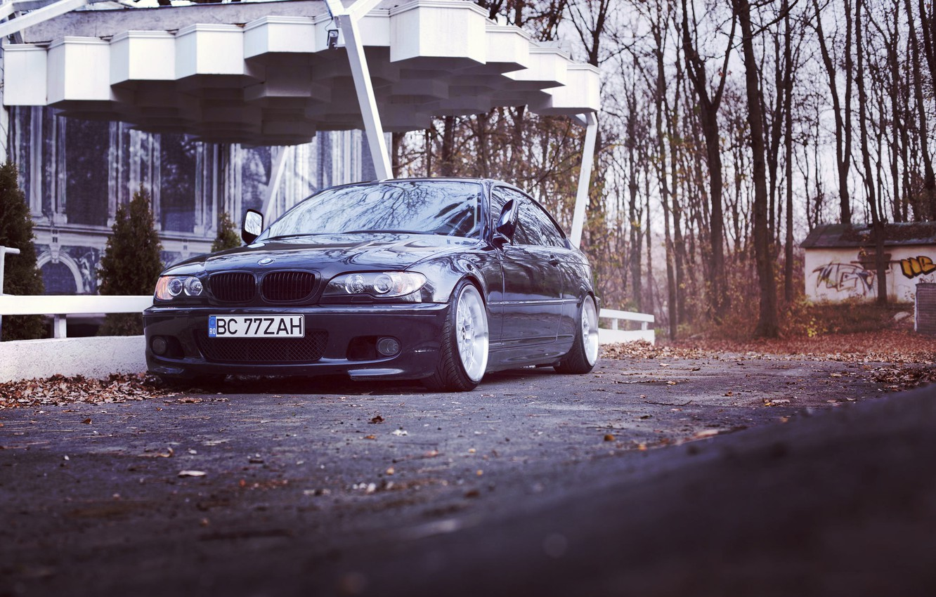 Фото обои BMW, autumn, stance, e46, 3series, 325ci