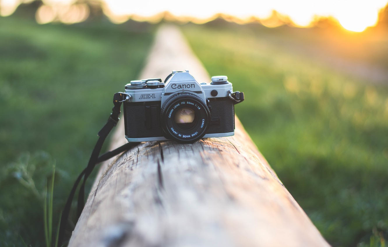 Фото обои закат, камера, фотоаппарат, объектив, canon