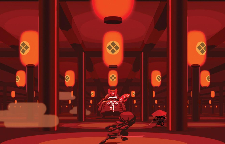 Фото обои катана, веер, фонари, колонны, храм, поединок, Mini Ninjas