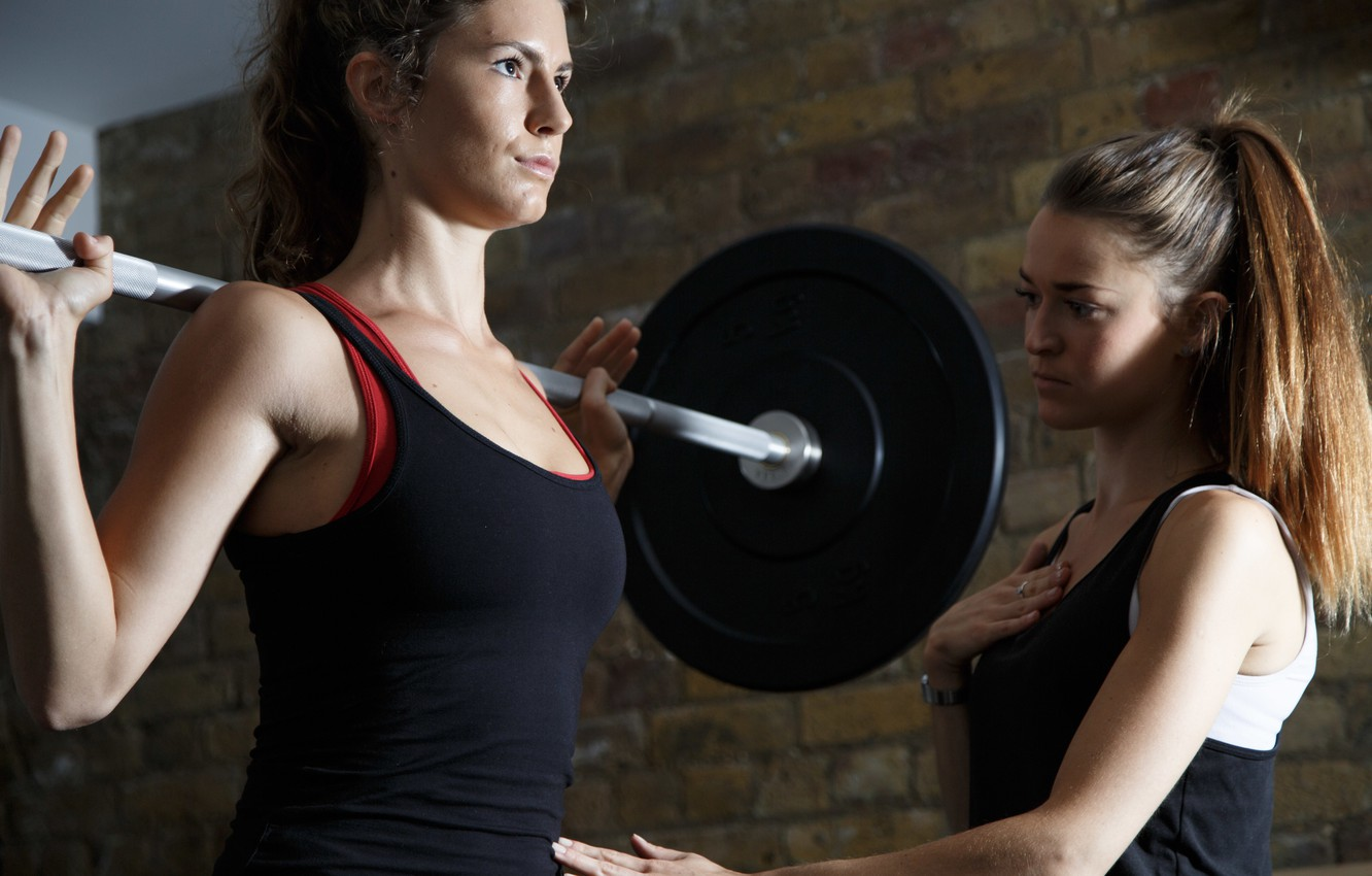 Фото обои women, fitness, gym, weight lifting, personal trainer, weight bar