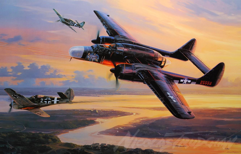 Обои p-61, ww2, black widow, painting, истребитель, P-61 black widow, aircraft art. Авиация foto 6