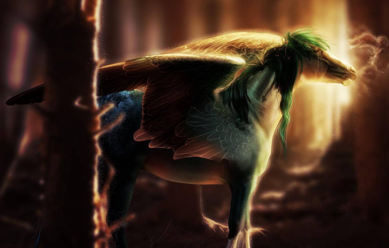 Фото обои light, fantasy, art, wings, horse, rendering, digital art