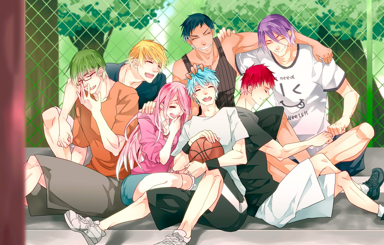 Фото обои девушка, радость, улыбка, настроение, мяч, аниме, парни, Kise Ryouta, Kuroko Tetsuya, Momoi Satsuki, баскетбол куроко, …