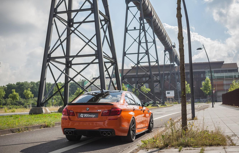 Фото обои дорога, машина, столбы, BMW, автомобиль, задок, 3D Design, трубопровод