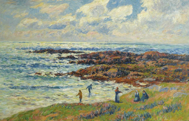 Фото обои море, облака, люди, картина, морской пейзаж, Henri Moret, Gathering of Seaweeds at Nevez